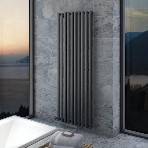 Mode Tate anthracite grey single vertical radiator 1600 x 600
