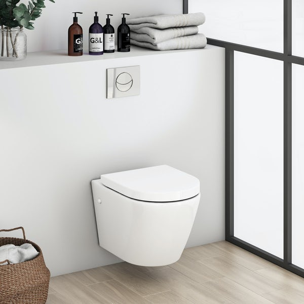 Mode Harrison rimless wall hung toilet inc soft close seat and wall mounting frame with push plate cistern