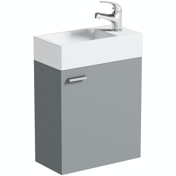 Clarity Compact satin grey wall hung vanity unit and basin 410mm with tap