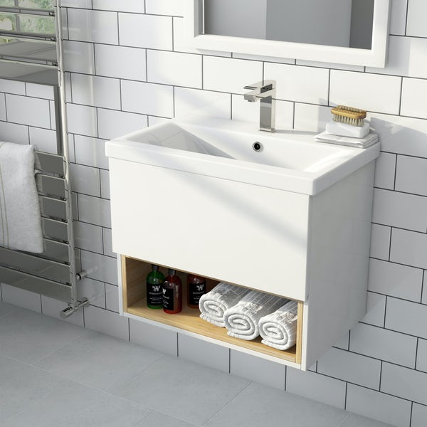 Tate white & oak 600 wall hung vanity unit with basin