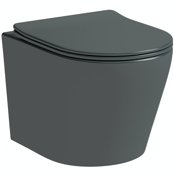 Mode Orion complete bathroom suite with contemporary charcoal grey wall hung toilet and freestanding bath
