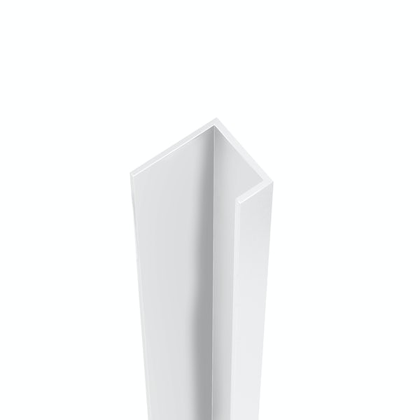 Showerwall White Gloss end cap profile for waterproof wall panels
