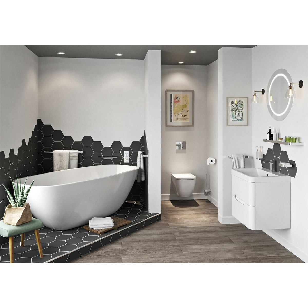 SmarTap & Mode Ellis complete suite with freestanding bath with smart fill, taps and wastes