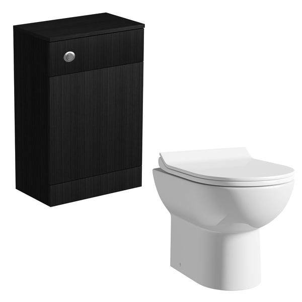 Orchard Wye essen black back to wall toilet unit with Eden contemporary toilet and seat
