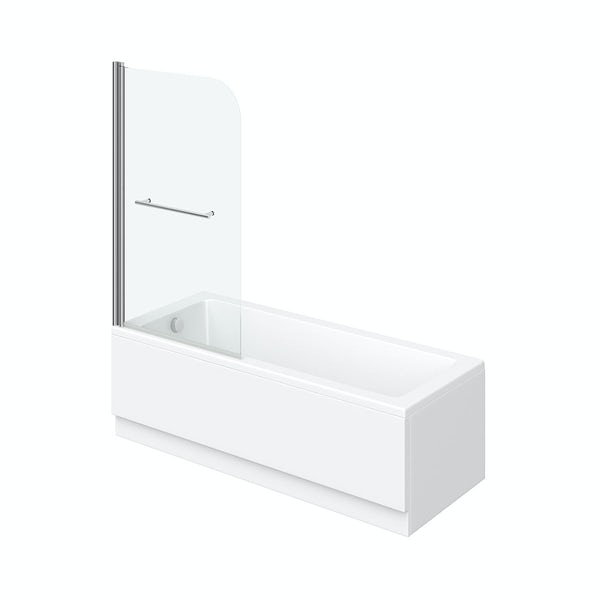 Eden square edge 1500 x 700 Shower Bath with Curved Single Screen and Rail