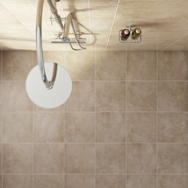 British Ceramic Tile Canvas toffee beige matt tile 331mm x 331mm