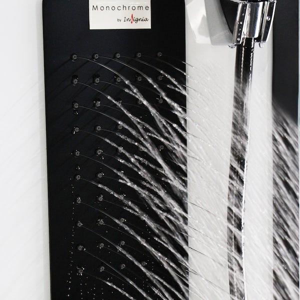 Insignia Monochrome black framed quadrant hydro-massage shower cabin 900 x 900