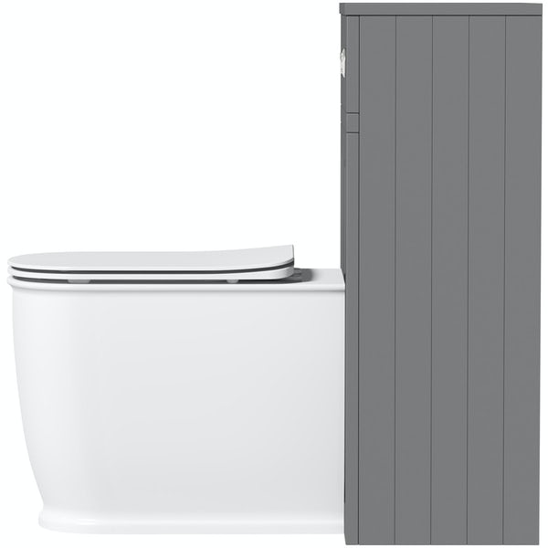 The Bath Co. Chartham slate matt grey back to wall unit and Beaumont toilet with slim soft close seat