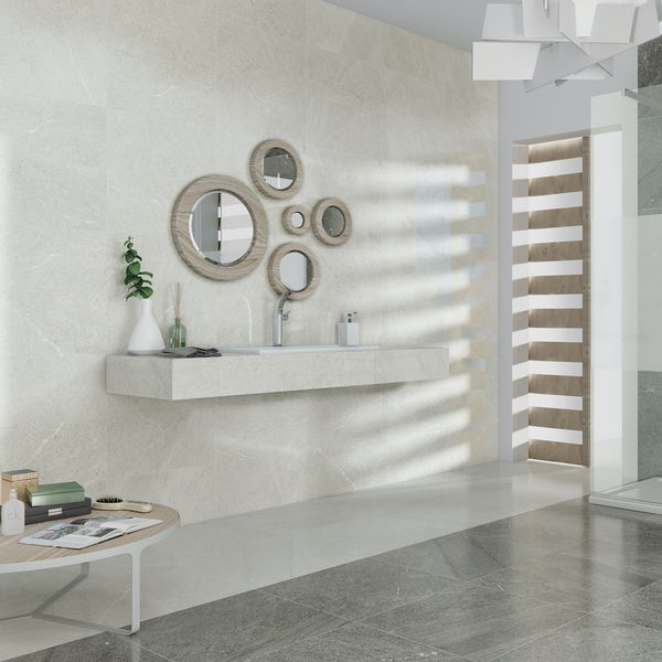 Alden lux cream stone effect gloss wall and floor tile 600mm x 600mm