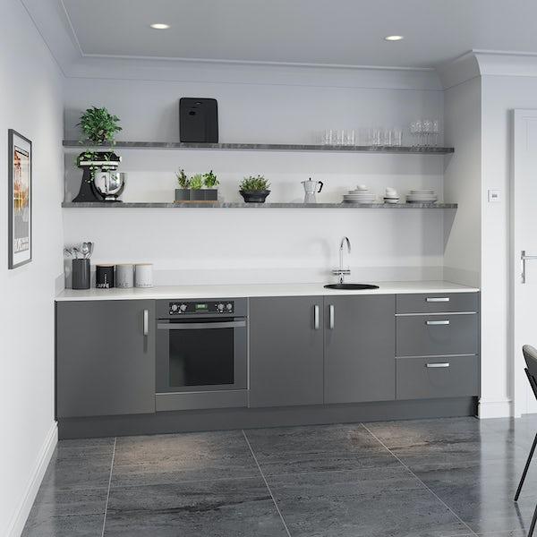 Schon Boston mid grey slab kitchen base unit bundle