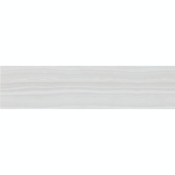Ibera white linear stone effect matt wall tile 100mm x 400mm
