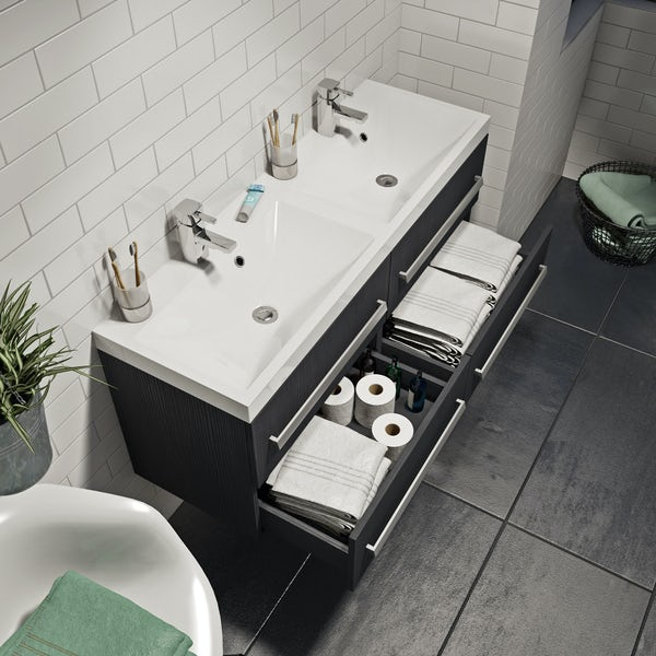Wye essen wall hung double basin unit 1200mm