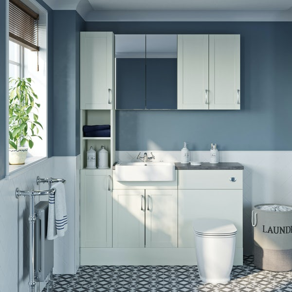 The Bath Co. Newbury white tall fitted furniture & storage combination with grey worktop
