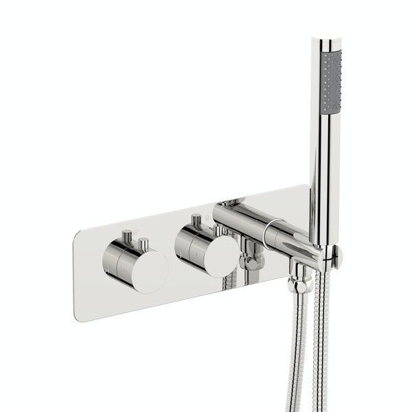 Mode Harrison square twin thermostatic shower valve with diverter and handset