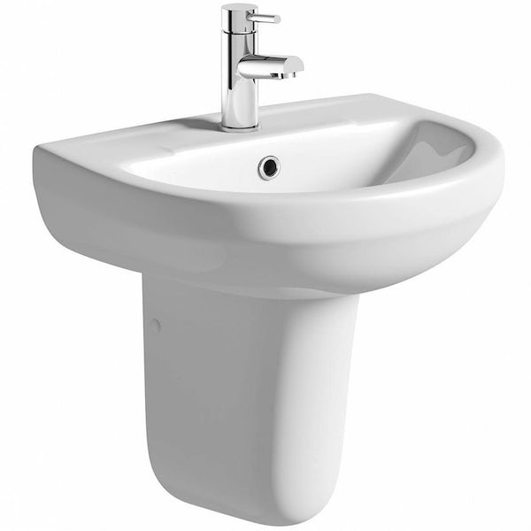 OrchardWharfecloakroom suite with semi pedestal basin 550mm with tap and waste