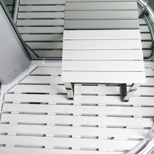 Insignia Platinum black framed offset quadrant left handed steam shower cabin