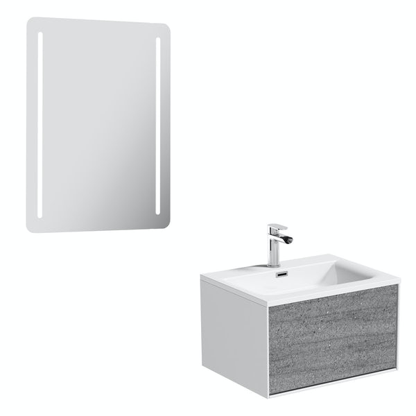 Mode Burton ice stone wall hung vanity unit 600mm & LED mirror offer