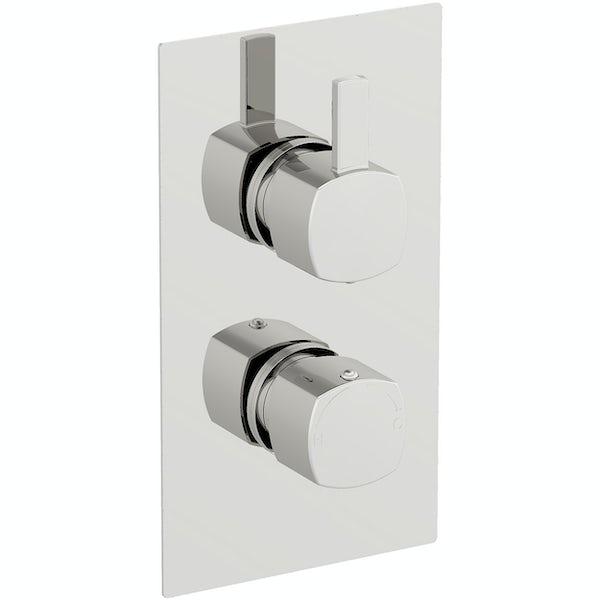 Mode Burton soft square twin thermostatic shower valve