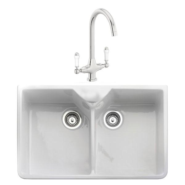 Rangemaster Double Bowl Belfast ceramic kitchen sink and Schon traditional kitchen tap