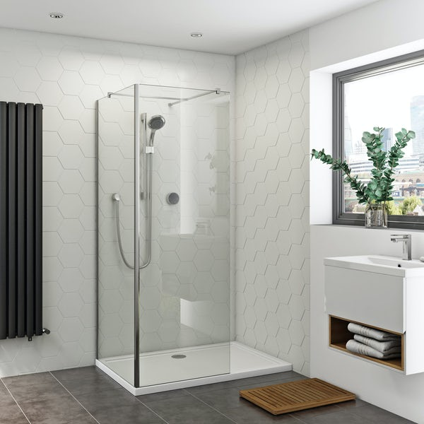 Orchard 8mm walk in corner glass panel return panel and stone shower tray pack