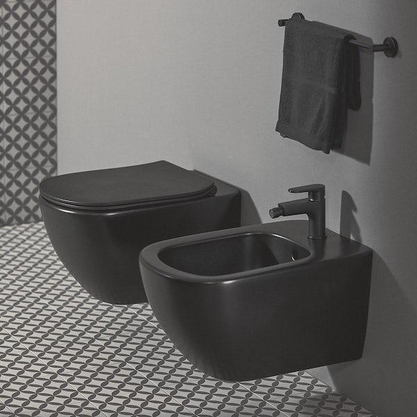 Ideal Standard IOM silk black towel rail 450mm