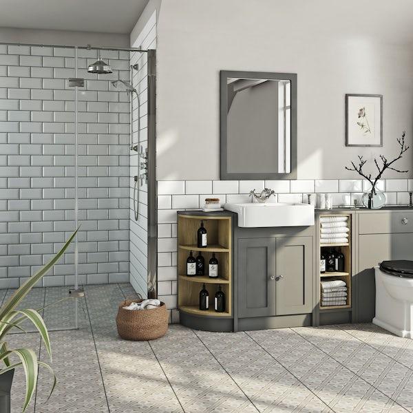 The Bath Co. Dulwich stone grey open storage corner unit