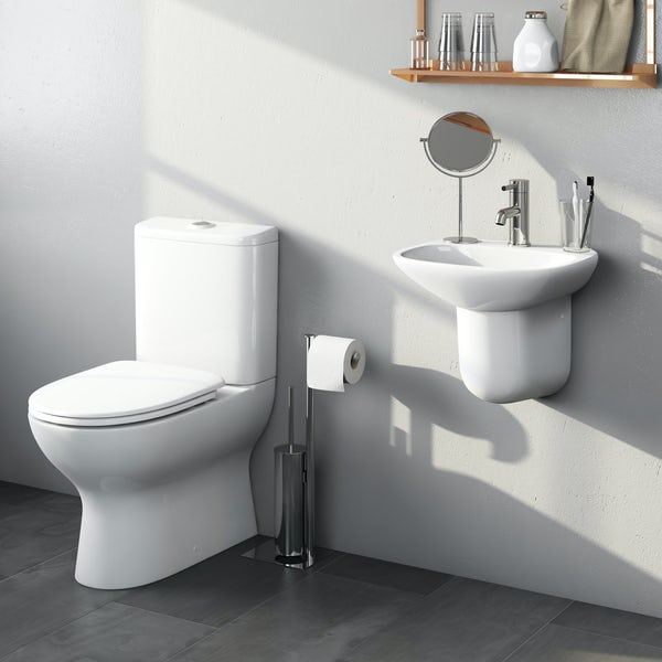 Mode Heath cloakroom suite with semi pedestal basin 400mm