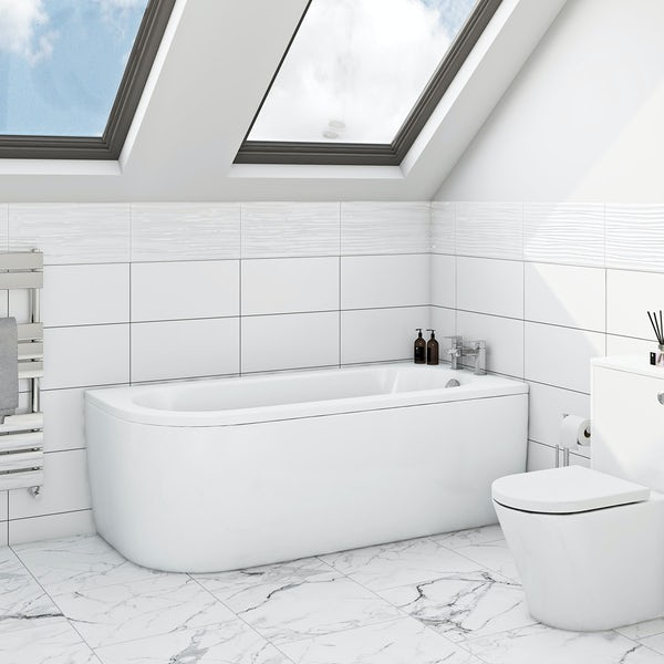 Cayman D Shaped Single Ended Back To Wall Bath RH