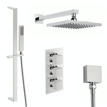 Mode Ellis thermostatic triple shower valve complete shower set