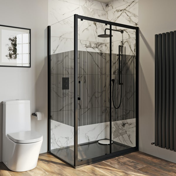 Mode 8mm matt black framed shower enclosure with barcode style modesty panel 1200 x 800mm