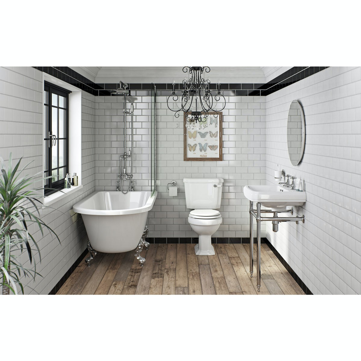 Orchard Dulwich Freestanding Shower Bath Suite With White Seat Victoriaplum Com