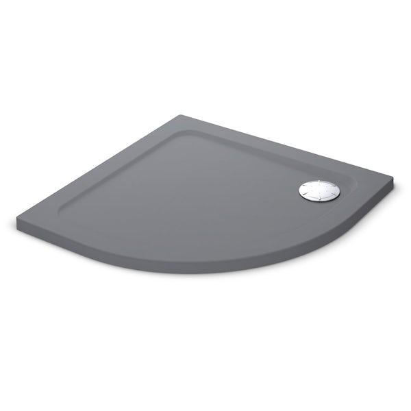 Mira Flight Safe low level anti-slip quadrant shower tray 900 x 900 in Anthracite grey