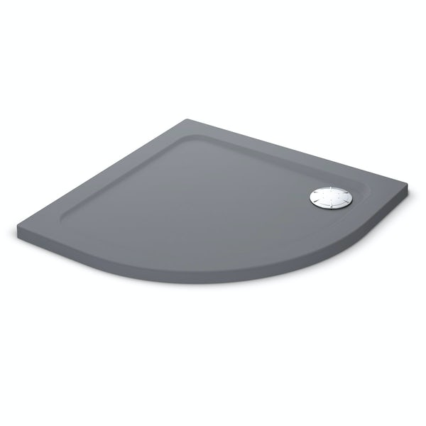 Mira Flight Safe low level anti-slip quadrant shower tray 900 x 900 in Anthracite grey