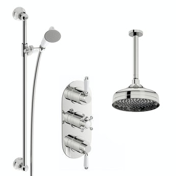 The Bath Co. Dulwich concealed thermostatic mixer shower with ceiling arm and slider rail
