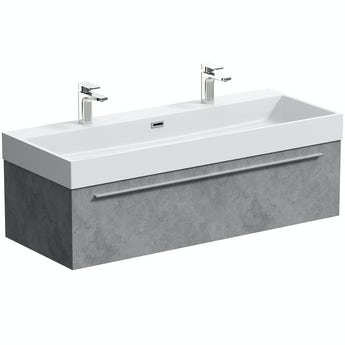 Mode Morris dark concrete grey wall hung vanity unit and basin 1200mm