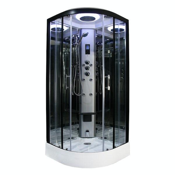 Insignia Premium black framed quadrant steam shower cabin