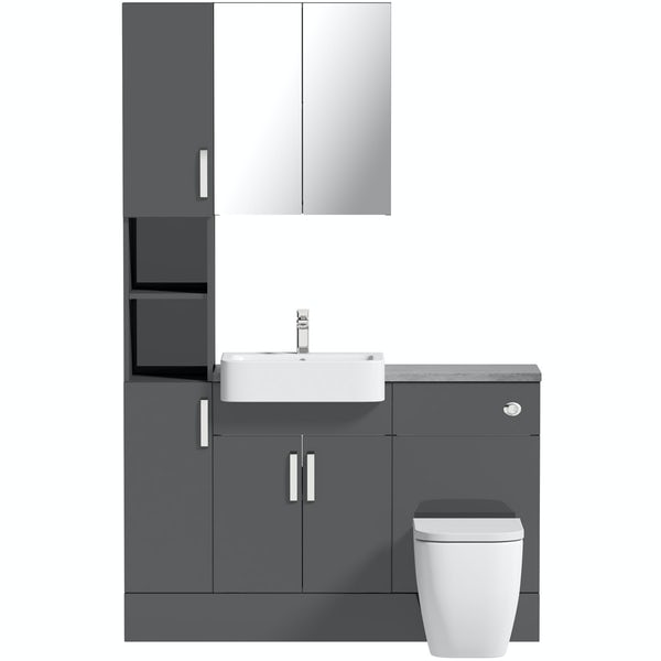 Mode Nouvel gloss grey tall fitted furniture & mirror combination with pebble grey worktop