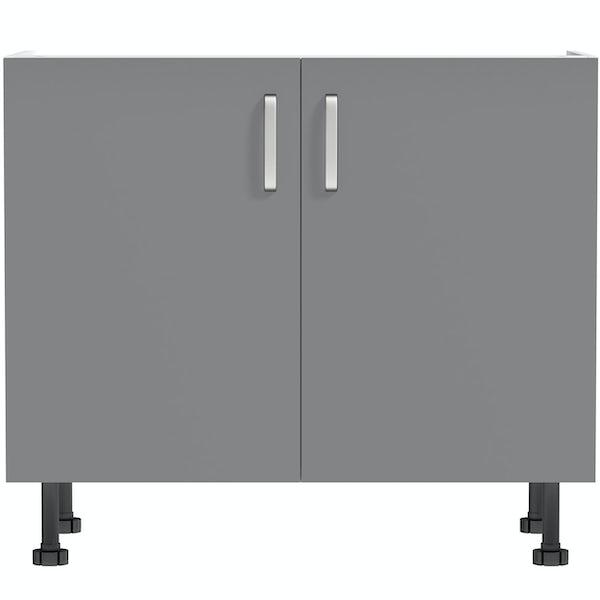 Schon Boston mid grey double door slab base unit