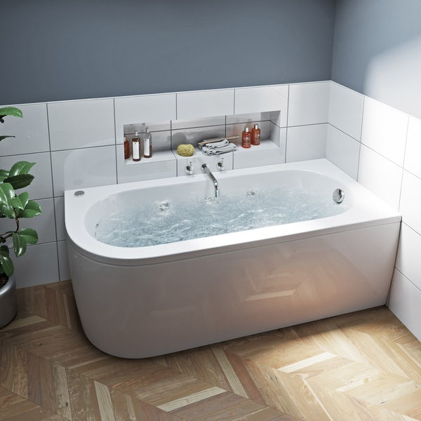 Mode Cayman right handed 6 jet whirlpool bath 1700 x 750