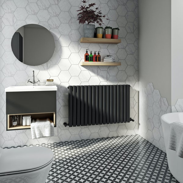 Mode Tate anthracite grey double horizontal radiator 600 x 1000