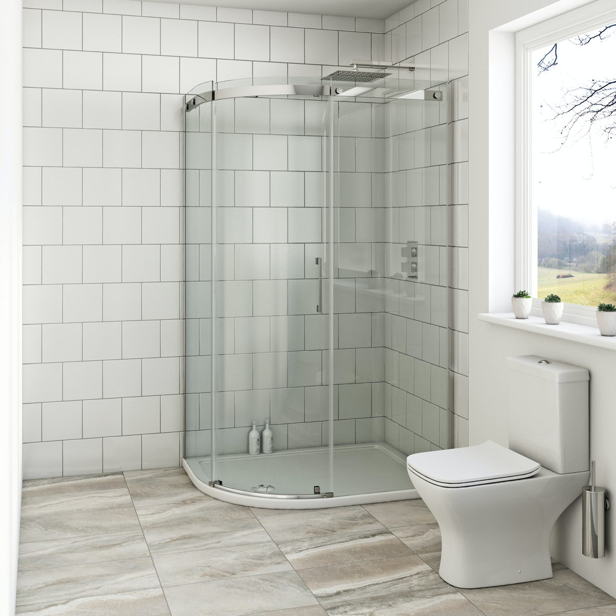 Mode Harrison 8mm left handed offset quadrant shower enclosure with stone tray 900 x 760