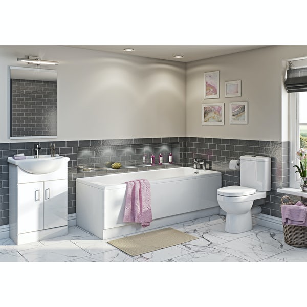 Eden white vanity bathroom set with straight bath