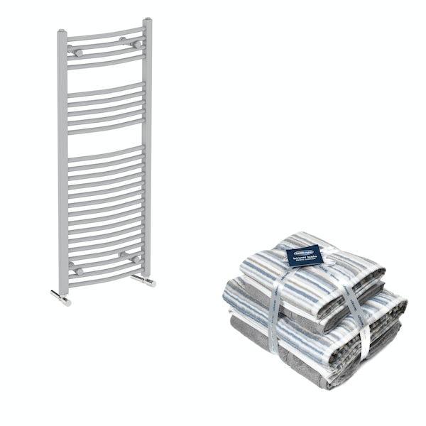 Orchard Elsdon stone grey heated towel rail 1150x450 with Silentnight Zero twist grey 4 piece towel bale