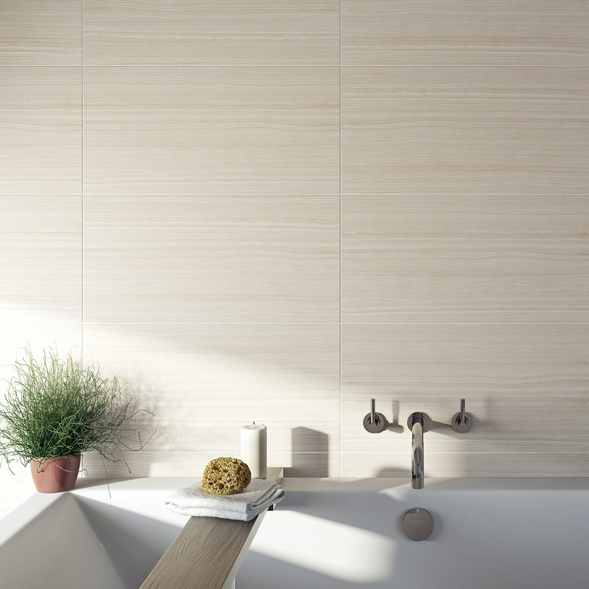 The British Ceramic Tile Mirage Beige Gloss Tile 298mm X 598mm