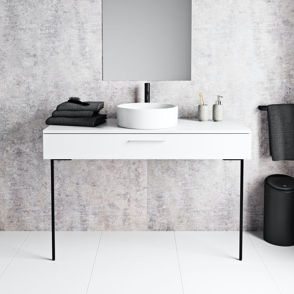 Mode Scher white countertop drawer unit and black steel legs 1200mm with Calhoun countertop basin, tap, waste and trap