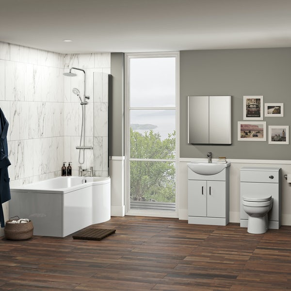 Orchard Eden contemporary complete right handed shower bath suite with taps, shower and wastes