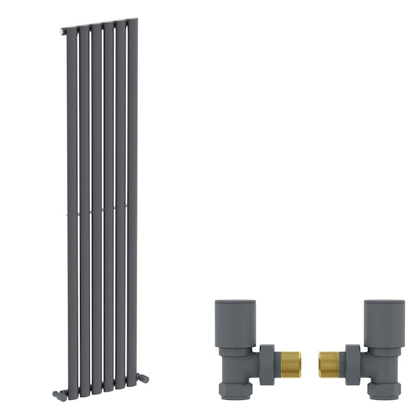 Mode Tate anthracite grey single vertical radiator 1600 x 360 with angled valves