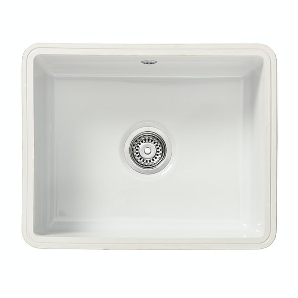 Tuscan Poppi ceramic 1.0 bowl polar white undermount kitchen sink