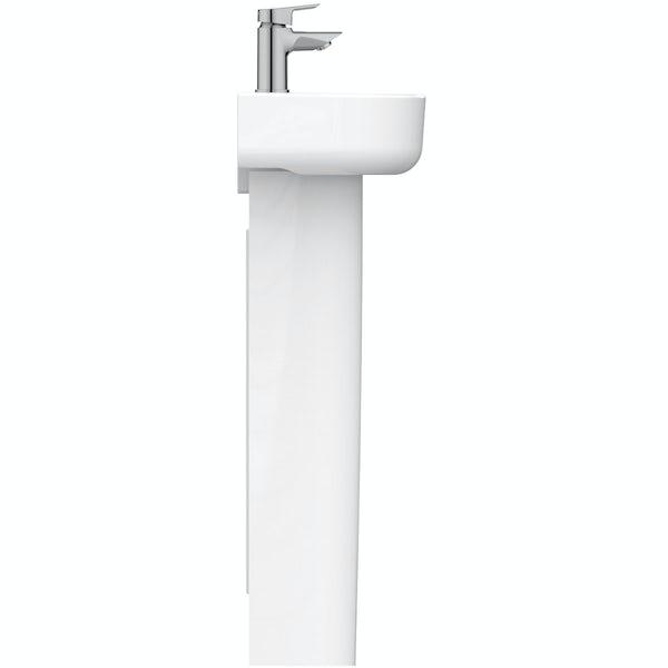 Ideal Standard Concept Space left handed 1 tap hole full pedestal basin 350mm