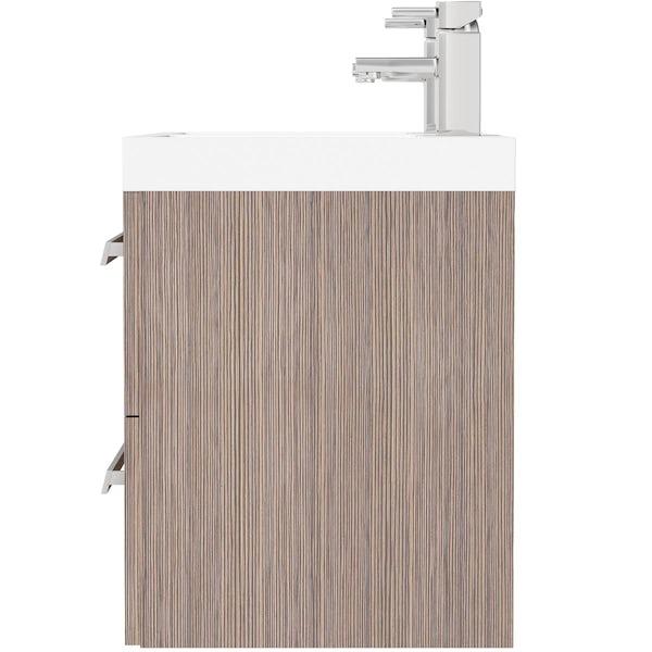 Wye walnut wall hung double basin unit 1200mm